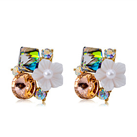 Women's Multicolor Crystal Stud Earrings Gold Plated Earrings Jewelry Rainbow For Engagement Ceremony Formal 2pcs