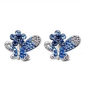 Women's Clear Blue Crystal Clip on Earring Imitation Diamond Earrings Butterfly Stylish Trendy Cute Jewelry Silver For Engagement Evening Party Formal 2pcs