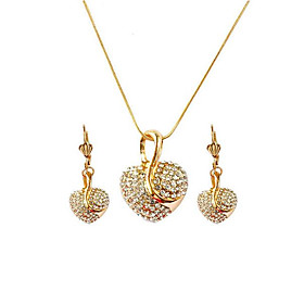 Women's 3D Jewelry Set Rhinestone, Rose Gold Plated Heart Stylish, Unique Design Include Drop Earrings Pendant Necklace Gold For Gift Daily