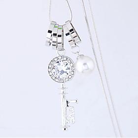 Women's Pendant Necklace Long Necklace Imitation Diamond Keys Love European Fashion Silver 70 cm Necklace Jewelry 1pc For Daily