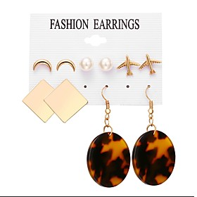 Women's Stud Earrings Drop Earrings Resin Earrings Crescent Moon Baroque European Jewelry Gold For Daily Bar 5 Pairs