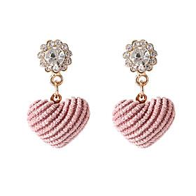 Women's Stud Earrings Imitation Diamond Earrings Heart Korean Sweet Fashion Jewelry Pink For Daily Date 1 Pair