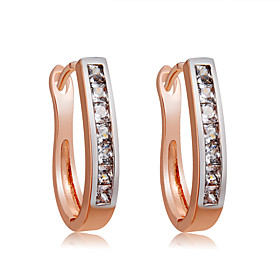 Women's Clear Crystal Hoop Earrings Rose Gold Plated Imitation Diamond Earrings Stylish Simple Modern Jewelry Rose Gold For Daily Evening Party Formal 2pcs