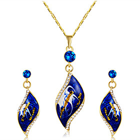 Women's Clear Cubic Zirconia Jewelry Set Gold Plated, Imitation Diamond Statement, Stylish, Artistic Include Pendant Necklace Earrings Blue For Wedding Party O