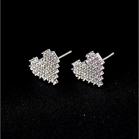 Women's Stud Earrings Imitation Diamond Earrings Cute Jewelry Silver For Wedding Party Engagement Gift Valentine 1 Pair