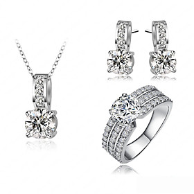 Women's Classic Jewelry Set Simple, European, Elegant Include Necklace Earrings Ring Gold / Silver For Wedding Gift