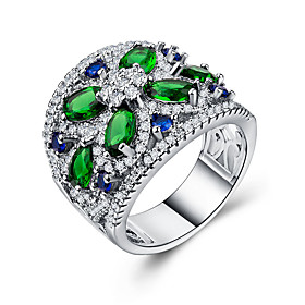 Women's Cubic Zirconia Classic Band Ring Ring Set Flower Stylish Luxury European Romantic Ring Jewelry Green For Wedding Gift Date 6 / 7 / 8 / 9 / 10
