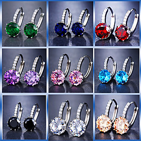 Women's Radiant Cut Hoop Earrings Imitation Diamond Earrings Luxury Jewelry Blue / Light Blue / Champagne For Wedding Party Birthday Going out Bar 1 Pair