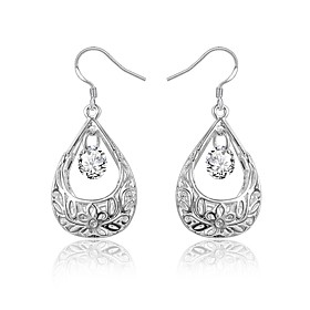 Women's Clear Cubic Zirconia Briolette Drop Earrings Earrings Silver Plated Earrings Drop Stylish Dangling Trendy Fashion Elegant Jewelry Silver For Birthday E