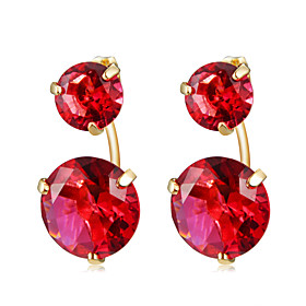 Women's Red Crystal Earrings Gold Plated Earrings Stylish Romantic Cute Jewelry Red For Engagement Evening Party Formal 2pcs