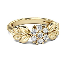 Women's Clear Cubic Zirconia Sculpture Ring 18K Gold Plated Imitation Diamond Floral Theme Flower Petal Trendy Fashion Ring Jewelry Gold For Valentine Festival