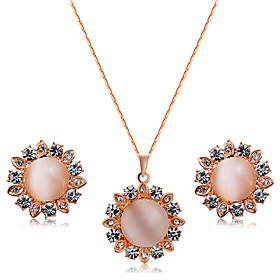 Women's Clear Crystal Jewelry Set Rose Gold Plated, Imitation Diamond Stylish, Unique Design, Sweet Lolita Include Pendant Necklace Earrings Champagne For Wedd