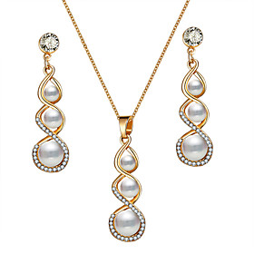 Women's Crystal Crossover Jewelry Set Imitation Pearl Classic, European, Elegant Include Drop Earrings Pendant Necklace Gold For Party Ceremony Festival