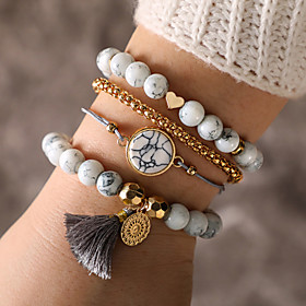 4pcs Women's White Retro Rope Chain Bracelet Bead Bracelet Bracelet Set Resin Sun Statement Tassel Ethnic Boho Bracelet Jewelry White For Daily Masquerade Prom