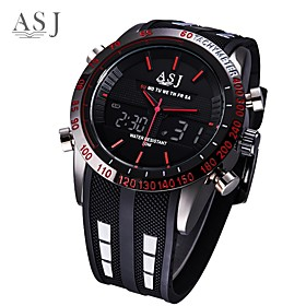 ASJ Men's Digital Watch Japanese Digital Silicone Black Water Resistant / Waterproof Alarm LCD Analog - Digital Fashion - White Red Blue One Year Battery Life