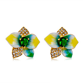 Women's Clear Green Crystal Stud Earrings Gold Plated Imitation Diamond Earrings Flower Stylish Rustic Cute Jewelry Rainbow For Wedding Birthday Evening Party