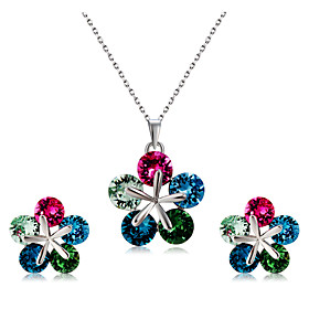 Women's Multicolor Crystal Jewelry Set Silver Plated Flower Stylish, Classic, Cute Include Pendant Necklace Earrings Rainbow For Wedding Party Formal / 3pcs