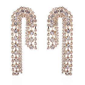 Women's Chandelier Drop Earrings Imitation Diamond Earrings Luxury Jewelry Gold / White For Engagement Ceremony Evening Party Formal Date 1 Pair