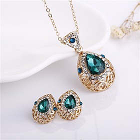Women's Green Hollow Out Jewelry Set Imitation Diamond Drop Stylish, Classic Include Drop Earrings Necklace Green For Daily Formal