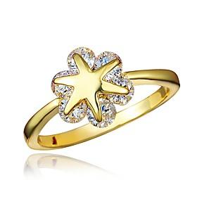 Women's Clear Cubic Zirconia Classic Ring 18K Gold Plated Imitation Diamond Starfish Stylish Luxury Romantic Fashion Elegant Ring Jewelry Gold / Silver For Par