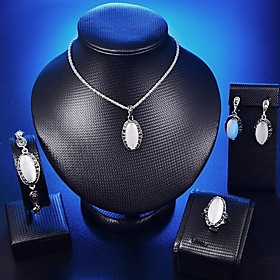 Women's 3D Jewelry Set Rhinestone Stylish, Vintage Include Drop Earrings Pendant Necklace Bracelet Ring White For Party Gift