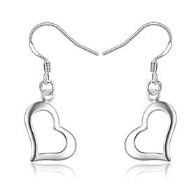 Women's Geometrical Drop Earrings Earrings Silver Plated Earrings Heart Stylish Dangling Trendy Fashion Elegant Jewelry Silver For Birthday Engagement Gift Dai