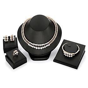 Women's Retro Jewelry Set Pearl Classic, Vintage, European, Elegant Include Stud Earrings Pendant Necklace Vintage Bracelet Bridal Jewelry Sets Open Ring Gold