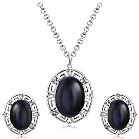 Women's Black Obsidian Jewelry Set Silver Plated, Imitation Diamond Stylish, Artistic, Unique Design Include Pendant Necklace Earrings Black For Party Evening