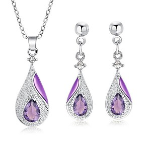 Women's Briolette Jewelry Set Rhinestone Pear Stylish, Classic Include Drop Earrings Pendant Necklace Purple / Red / Blue For Gift Daily