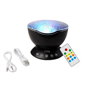 7 Color USB Ocean Wave Starry Sky LED Projector Night Light Novelty RC Lamp Illusion Light Remote Controller Hot Sale