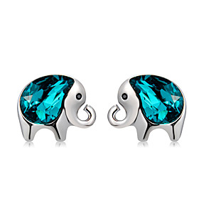 Women's Blue Crystal Stud Earrings Silver Plated Earrings Elephant Stylish Simple Cute Jewelry Silver For Daily Formal Bar 2pcs