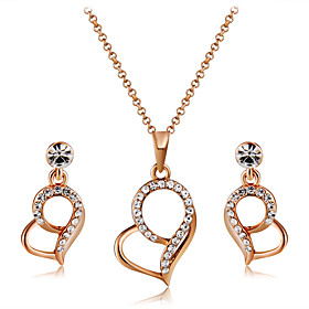 Women's Clear Crystal Jewelry Set Rose Gold Plated, Imitation Diamond Heart Stylish, Artistic, Elegant Include Drop Earrings Pendant Necklace Champagne For Par
