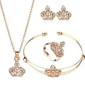Women's Cubic Zirconia Classic Jewelry Set Crown Classic, European, Elegant Include Cuff Bracelet Stud Earrings Pendant Necklace Bridal Jewelry Sets Open Ring