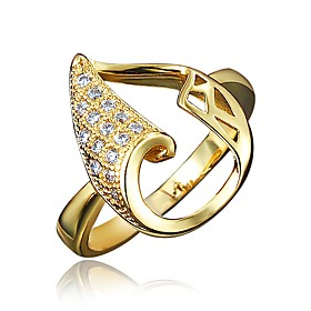 Women's Clear Cubic Zirconia Classic Ring 18K Gold Plated Imitation Diamond Pear Stylish Luxury Romantic Fashion Elegant Ring Jewelry Gold / Silver For Party E