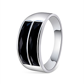 Couple's Black Crystal Classic Ring Copper Silver Plated Stylish Simple Elegant Ring Jewelry Silver For Engagement Daily Office  Career 6 / 7 / 8