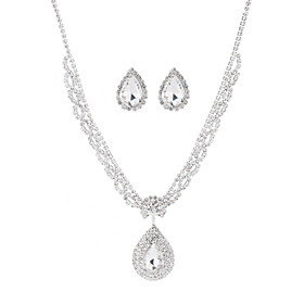 Women's Crystal Classic Jewelry Set Pear Luxury, Vintage, Elegant Include Stud Earrings Pendant Necklace Silver For Wedding Party Ceremony