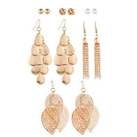 Women's Tassel Drop Earrings Imitation Pearl Earrings Leaf European Trendy Jewelry Gold For Causal Daily 6 Pairs