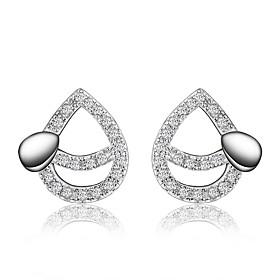 Women's Clear Cubic Zirconia Pear Cut Stud Earrings Earrings Silver Plated Earrings Drop Trendy Romantic Fashion Elegant Jewelry Silver For Birthday Engagement
