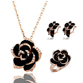 Women's 3D Jewelry Set Rhinestone, Platinum Plated, Gold Plated Flower Stylish, Classic Include Stud Earrings Pendant Necklace Band Ring Gold / Silver For Part