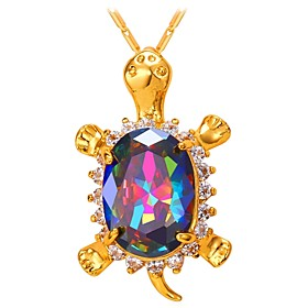 Women's Multicolor AAA Cubic Zirconia Pendant Necklace Turtle Fashion Lovely Gold Silver 55 cm Necklace Jewelry 1pc For Gift Daily