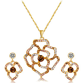 Women's Multicolor Crystal Hollow Out Jewelry Set Gold Plated, Imitation Diamond Flower Artistic, Unique Design Include Pendant Necklace Earrings Gold For Enga