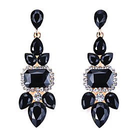 Women's Crystal Vintage Style Drop Earrings Earrings Luxury Classic Elegant Jewelry Black / Dark Blue / Red For Ceremony Evening Party Festival 1 Pair