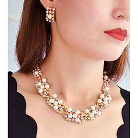 Women's Classic Jewelry Set Imitation Pearl Luxury, Romantic Include Stud Earrings Pearl Necklace White / Rainbow For Daily Date