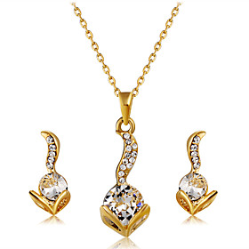 Women's Clear Crystal Jewelry Set Gold Plated, Imitation Diamond Stylish, Romantic, Sweet Include Pendant Necklace Earrings Gold For Wedding Party Daily / 3pcs