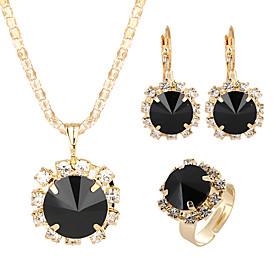 Women's Crystal Jewelry Set Sun Classic, Elegant Include Drop Earrings Pendant Necklace Bridal Jewelry Sets Open Ring Red / Green / Blue For Wedding Ceremony F