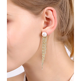 Women's Long Drop Earrings Imitation Pearl Earrings Luxury Jewelry Gold / Coffee For Wedding Party Work Club Bar 1 Pair