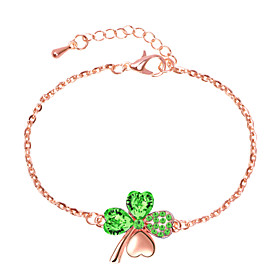 Women's Classic Link Bracelet Rhinestone Clover Unique Design Cute Boho Bracelet Jewelry Silver / Turquoise / Rose Gold For Daily Holiday