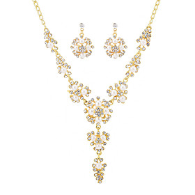 Women's Cubic Zirconia Retro Jewelry Set Imitation Pearl Luxury, Vintage, Elegant Include Drop Earrings Pearl Necklace Gold For Wedding Party Ceremony