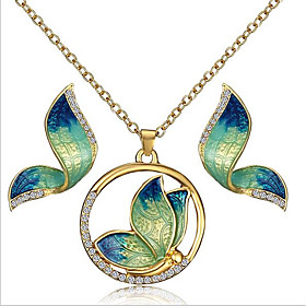 Women's Vintage Style Jewelry Set Rhinestone, Gold Plated Butterfly Vintage, Bohemian Include Stud Earrings Pendant Necklace Yellow / Green / Blue For Party Gi