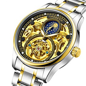 Men's Mechanical Watch Automatic self-winding Silver Water Resistant / Waterproof Noctilucent Moon Phase Analog Luxury Fashion - White Black Blue